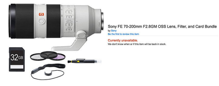 Sony-FE-70-200mm-F2.8-GM-lens-listed-at-amazon