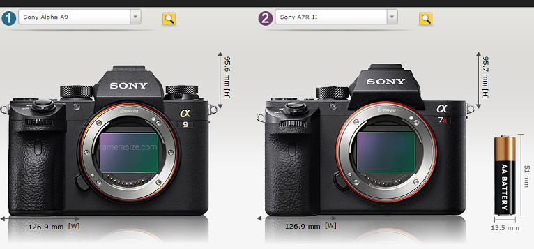Sony-a9-vs-Sony-a7RII-size-comparison