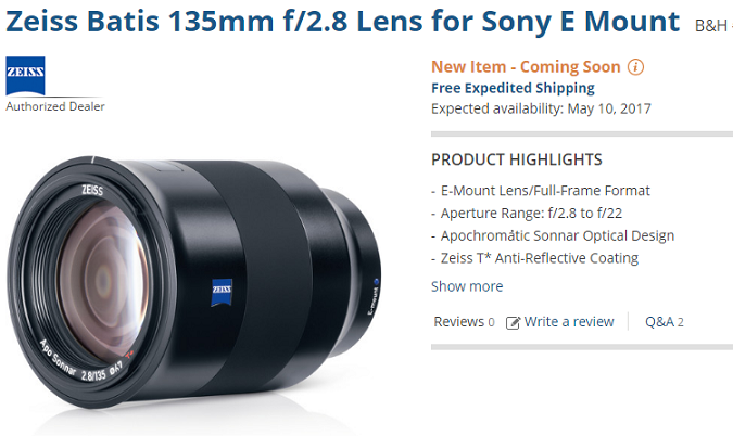 Zeiss Batis 135mm f/2.8 Lens Will Be Released on May 10, 2017
