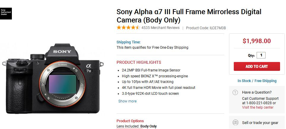 Sony a7III now in Stock at FocusCamera - Camera Ears